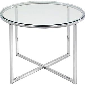 Mesa auxiliar redonda cristal y metal cromado hogar - Amazon mesa auxiliar cocina ...