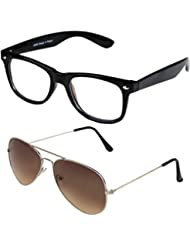 Sheomy Unisex Combo Pack Of Transparent Wayfarer Sunglasses And Silver Brown Aviator Sunglasses For Men And Women...