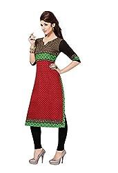 Aarvi Fashion Ethnicwear Women's Kurti Fabric(Red_Free Size)