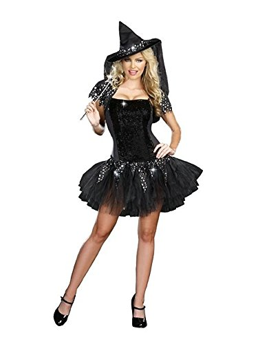 GALHAM - Black Adults Strapless Fancy Starry Night Witch Women Dress Costume