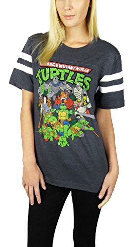 Teenage Mutant Ninja Turtles Womens Varsity Football Tee Medium Charcoal