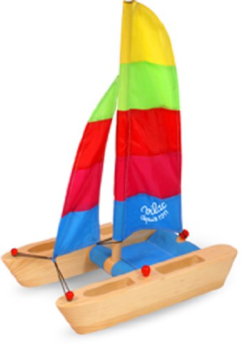 Vilac Wood Catamaran with Bright Colored Sail