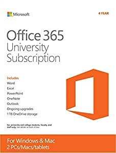 Microsoft Office 365 University 4 Year | PC or Mac Key Card
