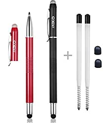 MeKo 2Pcs [3 in 1 Series] Stylus pen ** MICRO FIBER TIP(replaceable) + RUBBER TIP(replaceable) + FINE BALL PEN(refillable) ** for ALL Capacitive Touch Screen Smartphones ,Tablets, PC - Extras 2 rubber tips +2 Refill ink - (Red&Black)