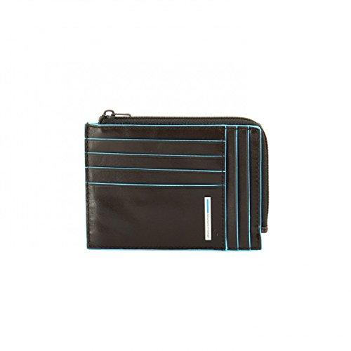 Piquadro Blue Square Porta Monete/Documenti, Pelle, Grigio Scuro, 12 cm
