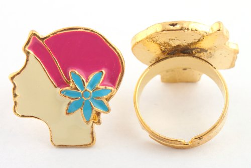 Girls Gold with Fuchsia & Blue Girl's Face Style Metal Adjustable Finger Ring