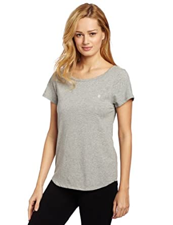 Tommy Hilfiger Women's Boat Neck Short Sleeve Top, Heather Grey, Large