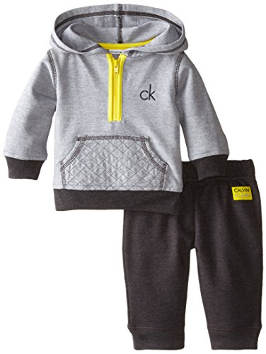 Calvin Klein Baby-Boys Newborn Hoody with Pants, Gray, 0-3 Months