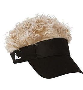 Flair Hair Men's Velcro Hat Cap Visor (Black w/ Blonde Hair