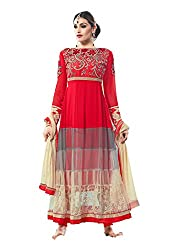 Styliner stunning floor lenght embroidery suit
