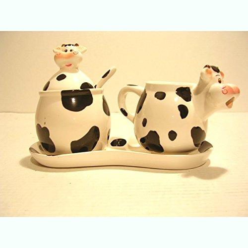 REVIMPORT - Cremier/sucrier Faïence Vache noire et blanc *
