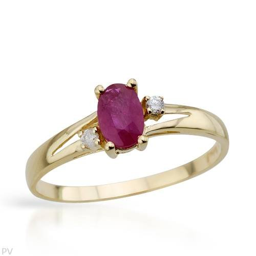 Ring With 0.60ctw Precious Stones - Genuine Diamonds and Ruby Crafted in White Gold (Size 7)