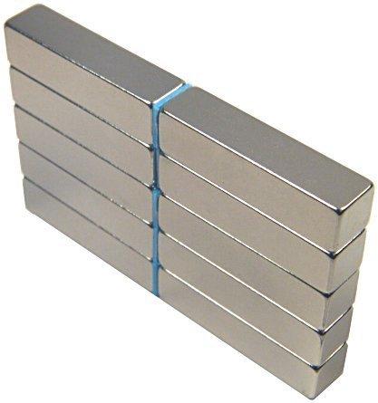 10 Neodymium Magnets 1 x 1/4 x 1/4 inch Bar N48