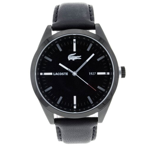 Lacoste Montreal Black Dial Black Leather Mens Watch 2010598
