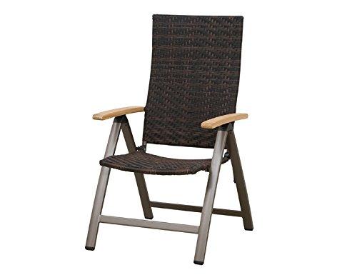 Siena Garden 120177 Klappsessel Aros Aluminium-Gestell bronze Gardino®-Geflecht maron Armlehnen Teak FSC® 100%