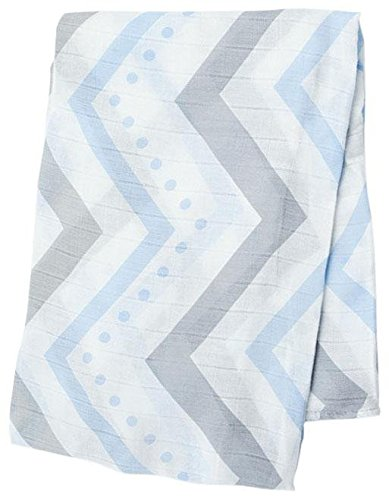 "Lulujo Baby Bamboo Muslin Swaddling Blanket, Chevron/Blue/Grey, 47"" x 47"""