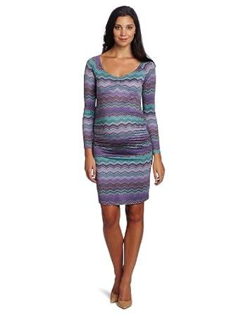 Three Seasons Maternity Women's Long Sleeve Print Front Side Rouche Dress, Purple, Small