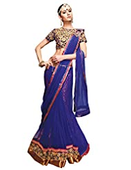 Anvi Creations Blue Net Heavy Embroidered Saree (Blue_Free Size)