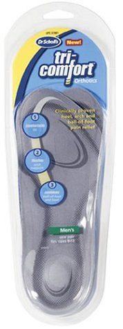 Dr. Scholl's Tri-Comfort Orthotics Inserts, Men's Size 8-12, 1-Pair Packages (Pack of 3)