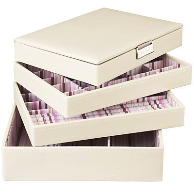 Stackers Cream Jewellery Box Set Includes all 4 Stacker Trays as Shown