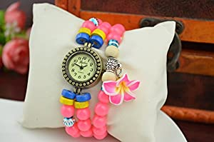 Fashion Women Ladies Flower Beads Bohemia Trend Bracelet Quartz Jewelry Watch Red