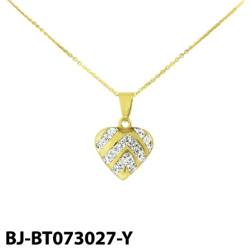 Stainless Steel Gold Tone Heart Pendant with Cubic Zirconia & Chain
