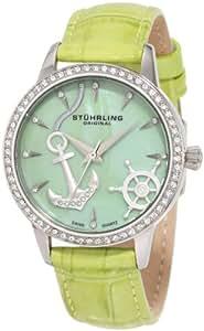 Stuhrling Original Women's 520.1115L88 Vogue Audrey Verona Del Mar Swiss Quartz Mother-Of-Pearl Swarovski Crystal Green Watch