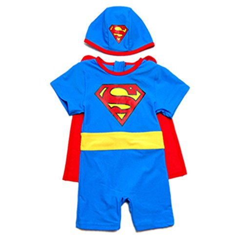 Baby Boys New Pattern Superman One Piece UV Protection Swimsuit With Hat & Cloak, Blue, 3T (Toddler Sun Protection Swimwear compare prices)