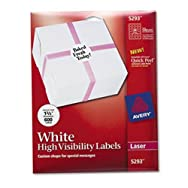 High-Visibility Round Laser Labels, 1-2/3in dia, White, 600/Pack