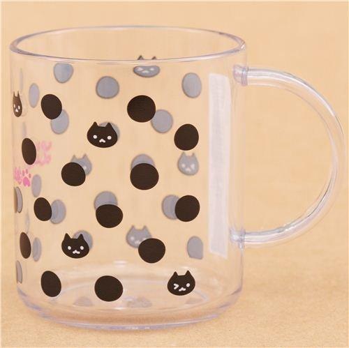 Schwarz-weiße Katzen Punkte Plastik Tasse aus Japan