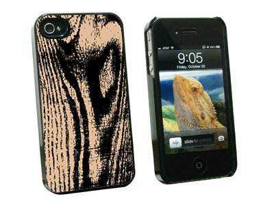 Wood Grain Tan - Snap On Hard Protective Case for Apple iPhone 4 4S - Black
