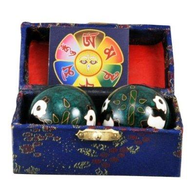 Chinese Green Panda Chi Balls, Hand Massage Balls, Hand Massaging Balls, Cloisonne Balls, Baoding Balls 2