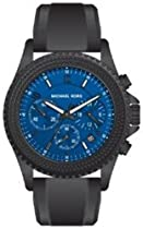 Michael Kors Unisex Black Stainless Steel Quartz Crystal Chronograph Purple/Blue Dial MK5390