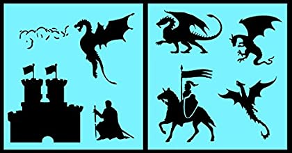 Auto Vynamics - STENCIL-DRAGONSET01-10 - Detailed Castle amp Dragons Stencil Set - Includes Dragons
