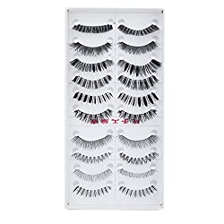Imported 10 Pairs Mixed Styles False Eyelashes Eye Lashes Extension Make up Party