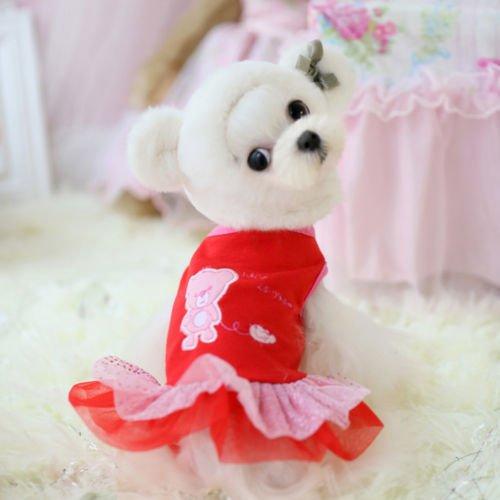 ChicpawTM For Teacup Dogs Puppy Coat Chihuahua Red Bear Pet Clothes Dress e174 XXXS XXS (XXS-Length16CM,Chest22CM) (Teacup Clothes compare prices)
