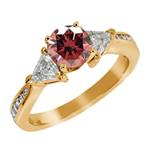 3.63 Ct Round Pink and G/H Diamond 925 Yellow Gold Plated Silver Engagement Ring