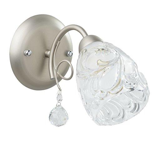 Luminaire applique métal couleur nickel satiné chrome abat-jour verre blancs cristal art déco chambre salon 1 ampoules non-incl.E14 1*60W 230V