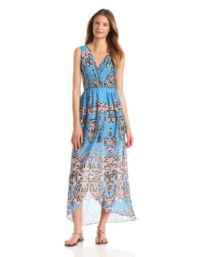 Myne Women's Maxi Dress With Short Lining and Cross Over Front, Apache, 8