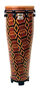 """REMO Standing Ngoma, Key-Tuned, 14"""" Diameter, 40"""" Height, Fabric African Stripe"""