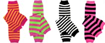 "Bright Stripes 4 pack girls baby and toddler leg warmers by juDanzy, 12"" socks"