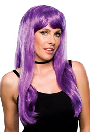 Adult Womens Dark Purple Long Straight Costume Wig