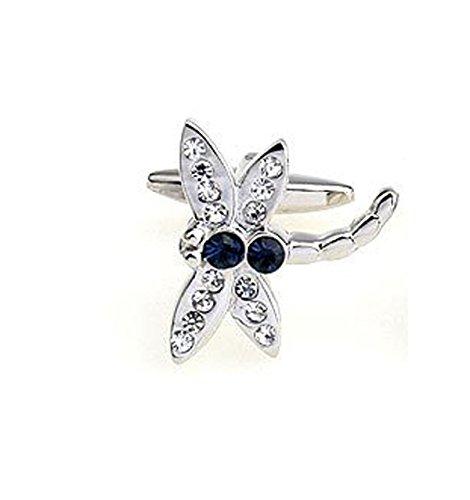Lily-SWAROVSKI Element blu cristallo a forma di libellula con inserto Cuff-links-Gemelli alla moda, perfetta idea regalo per uomini, in confezione regalo