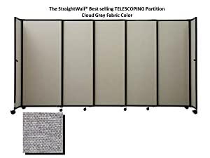 The StraightWall® TELESCOPING Portable Partition, Cloud Gray Fabric, 7'6'' high x 15'6'' long