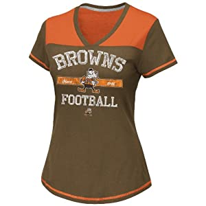 NFL Cleveland Browns Women's Champion Swagger IV Top, Classic Brown/Dark Orange/Steel, Small
