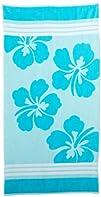 Superior Oversized Jacquard Beach Towel Blue Hawaii Flowers