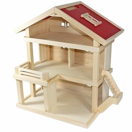 Freda Villa - Maison de poupées - Villa résidentielle -en bois - 3 étages - poignée - Dimensions 46 x 35 x 58 cm (larg. x profond. x haut.)