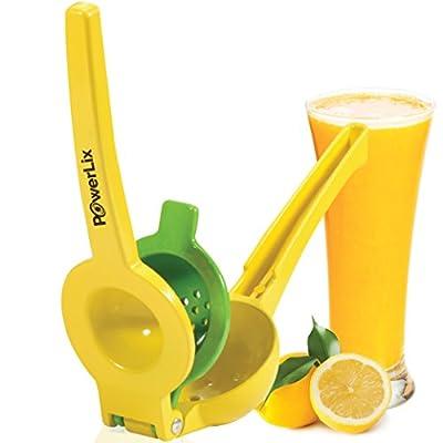 PowerLix Enameled Aluminum Lemon Lime Orange Manual Squeezer - Durable Citrus Press- Unique 2 Bowls Built In 1 Hand Citrus Press Juicer - Orange Peeler Include- Hand Held Fruit Juicer by Powerlix