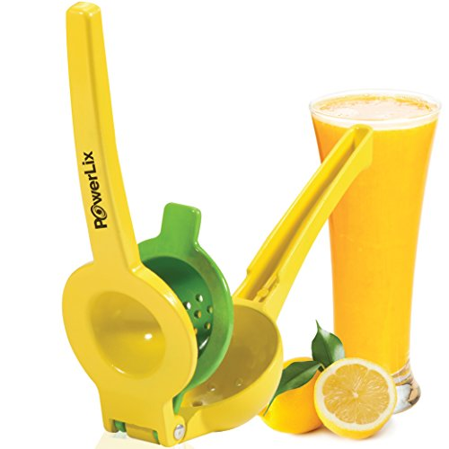 PowerLix Enameled Aluminum Lemon Lime Orange Manual Squeezer - Durable Citrus Press- Unique 2 Bowls Built In 1 Hand Citrus Press Juicer - Orange Peeler Include- Hand Held Fruit Juicer