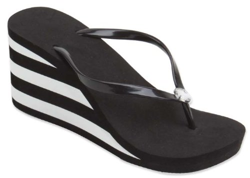 New Starbay Brand Women'S High Wedge Black Wedge Sandal Flip Flops With Black And White Stripes Size 8 front-1006445
